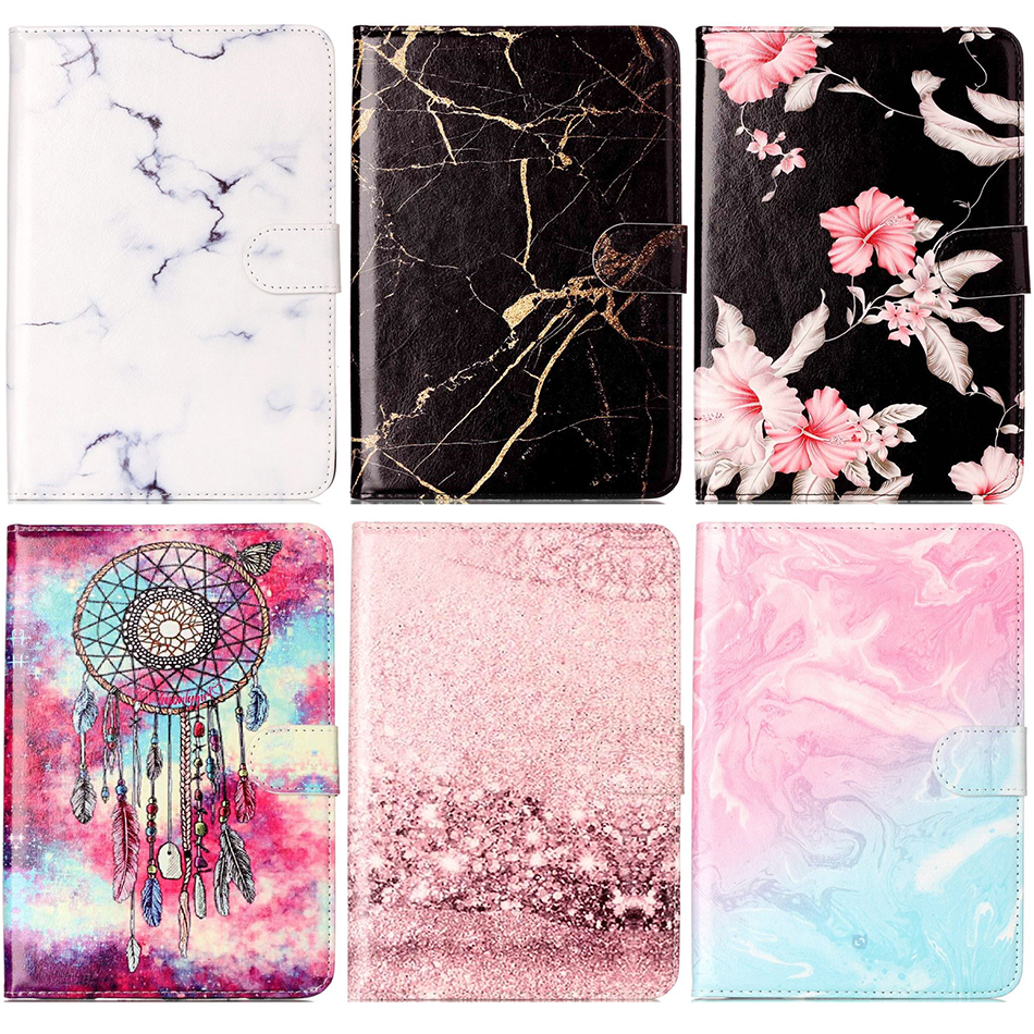 Universal 7 inch Tablet Case For Huawei Lenovo Samsung Asus Acer Marble Leather Flip Tablet Protective Shell Fundas Cover DP00E