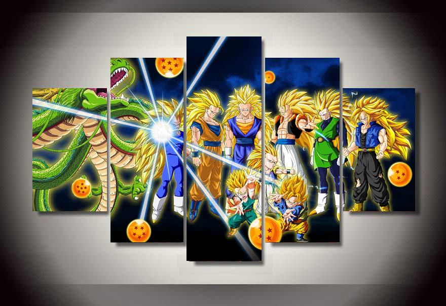 5 panel cartoon characters dragon ball modern home wall decor canvas picture art hd print painting