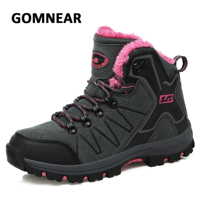 GOMNEAR Winter Thick Fur Women Hiking Shoes Non-slip Breathable Trekking Walking Sneakers Outdoor Mountain Climbing Sports Boots