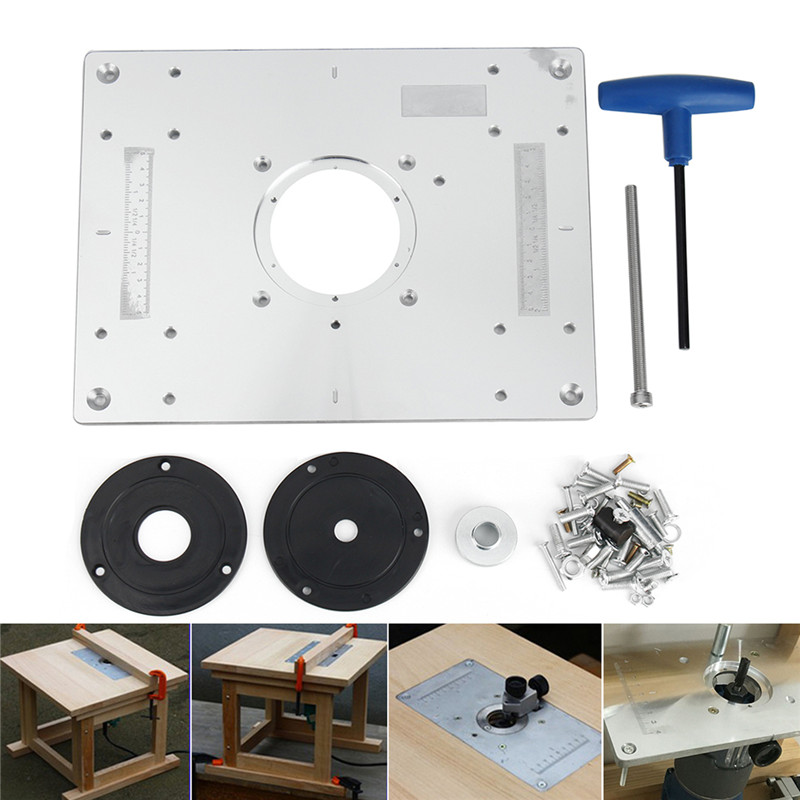 New 300*235mm Aluminum Router Table Insert Plate DIY Woodworking Benches For Popular Router Trimmers Models Engrving Machine 4 in 1 hex driver screw tools set for rc model