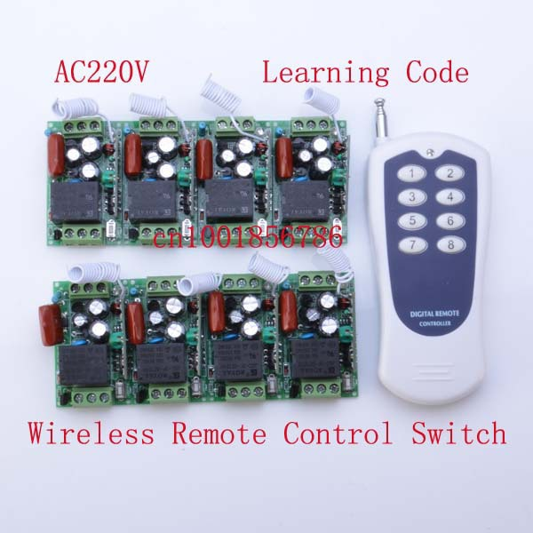 220V 8CH wireless remote control switch 10A output state is adjusted 1000W 200M Toggle /momentary 315mhz 433mhz switch dc24v remote control switch system1receiver
