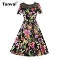 Tonval Floral Rockabilly Vestido Do Vintage Das Mulheres de Manga Curta Vestidos de Verão Ver Através Da Malha 50 s Vestidos