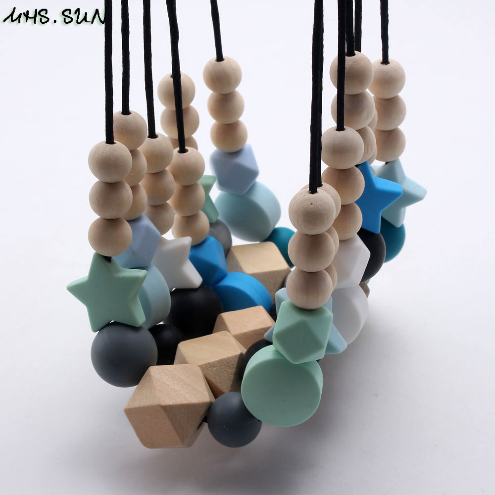 MHS.SUN Silicone Wooden Beads Necklace Baby Silicone Teething Nursing Necklace For Newborn Mom BPA Free Breastfeeding Jewelry