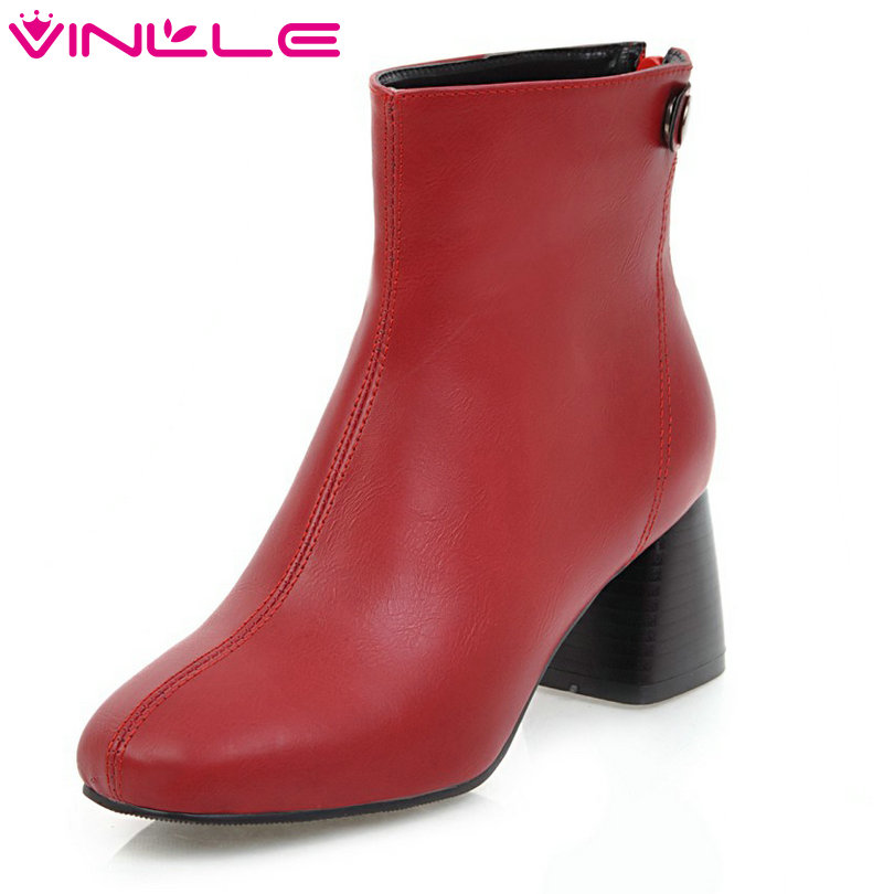 VINLLE 2018 Women Autumn Shoes Ankle Boots Square High Heel Round Toe PU leather Gray Ladies Motorcycle Shoes Size 34-43 vinlle 2018 women boots shoes ankle boots square high heel round toe slip on beige ladies motorcycle shoes size 34 43