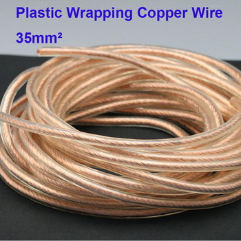 Free Shipping 1m/Lot High Quality Red Coppper Insulated Electric Cable 35 Square Copper Stranded Wire Plastic Wrapping