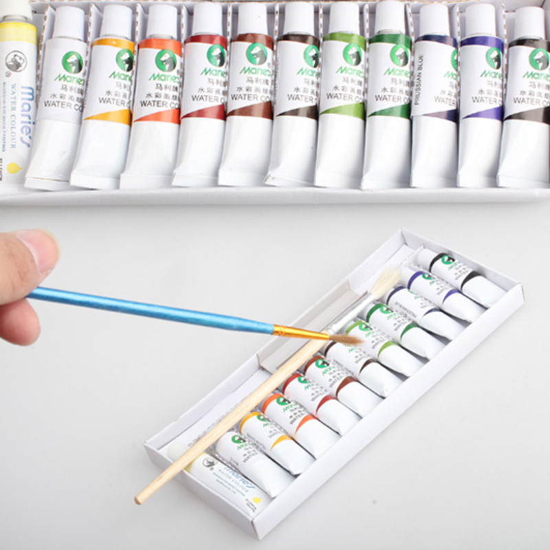 os recem chegados 12 tubos 5 ml cor da agua com escova caneta gouache pigmento criancas