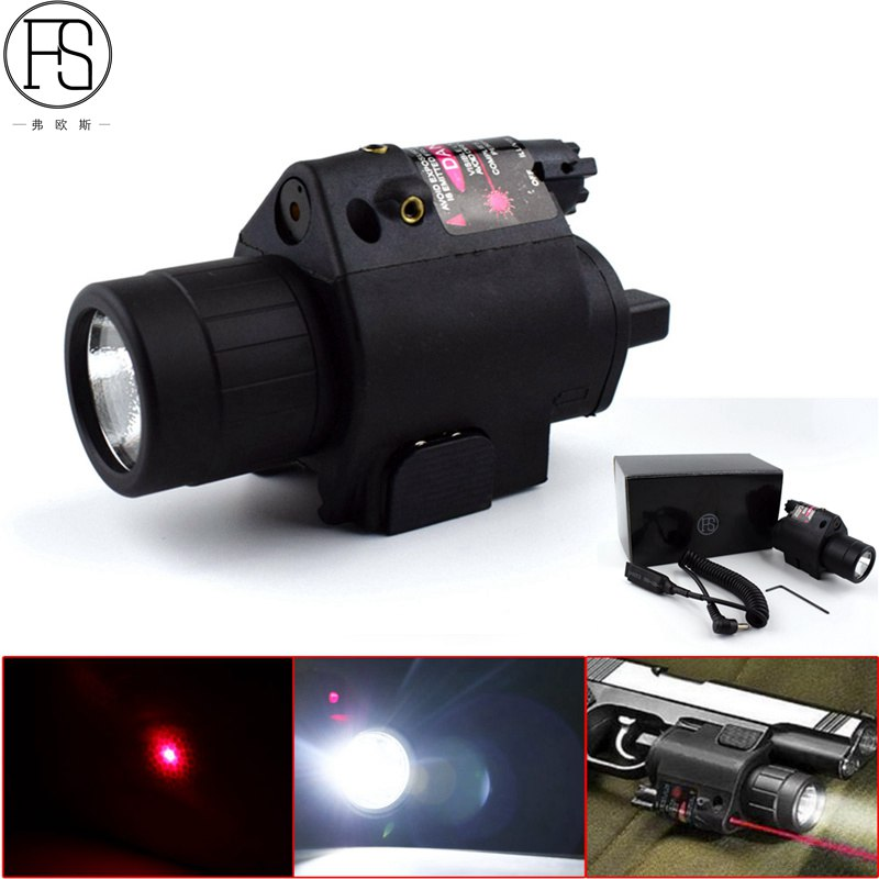 2 in 1 Tactical Combo Flashlight Red Laser Sight Picatinny Rail Fit Glock Pistol For Shotgun Hunting