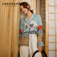 Cheerart Ukiyoe Vintage V Neck Blouse Women Long Sleeve Japanese Style Floral Print Ladies Shirt Satin Blouse Top Kimono Femme