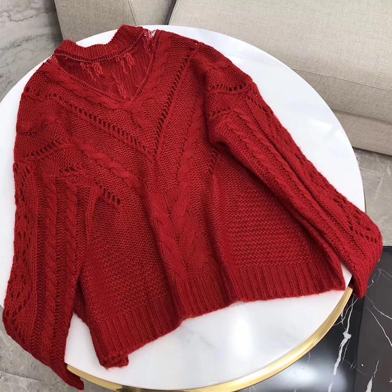 Женский полосатый элегантный вязаный свитер женский черный и красный свитер с длинным рукавом женский полый свитер мода мягкий полувер