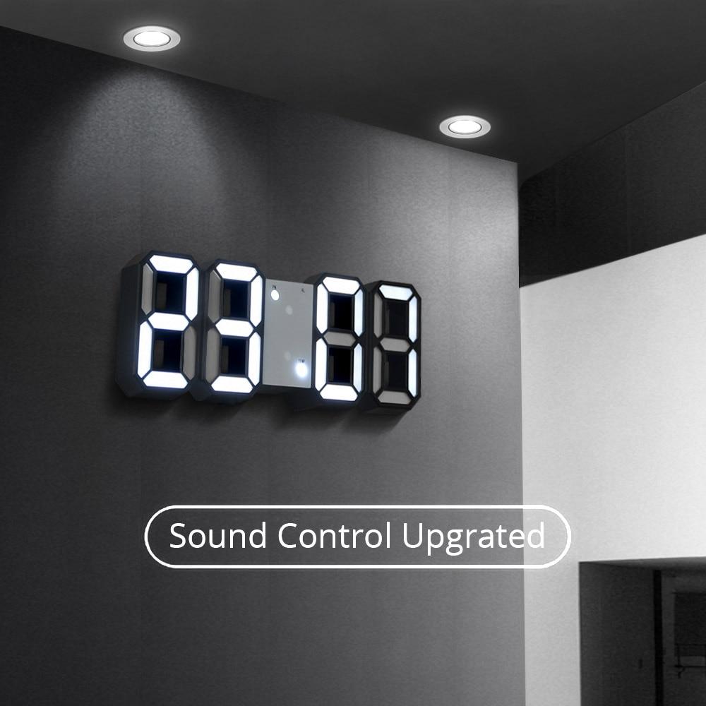 3D LED Wall Clock Modern Digital Sound Control Table Desktop Alarm Clock Temperature Night Light Saat Wall Clock For Home Decor