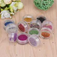 Slides for nails 12PCS Glass Micro Beads No Hole 0.2mm Nail Art Caviar Marbles Microbeads nails art decore beautiful colors 0109(China)