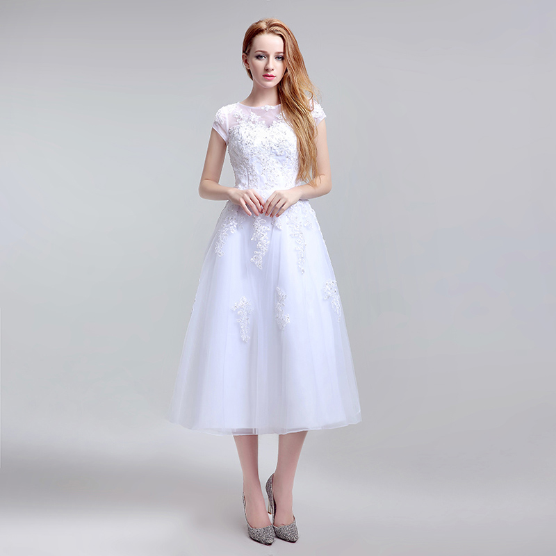 Simple Tea Length Lace Appliques Wedding Dresses Tulle A Line Cap Sleeve Little White Dress Cheap Short Bridal Party Gowns LX183 1