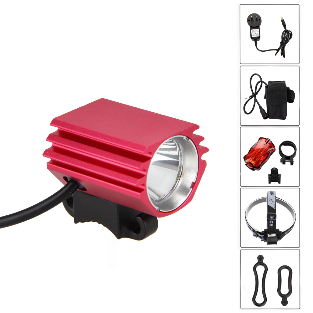 Waterproof 2 in 1 Headlamp 5000Lm XM-L2 LED Bicycle Light Front Bike Headlight with  6400mAh Battery Pack+Headband+Taillight new xm l2 x2 bike led front lights bicycle headlamp light mtb cycling 6000lm head light with 6400mah battery pack ac charger