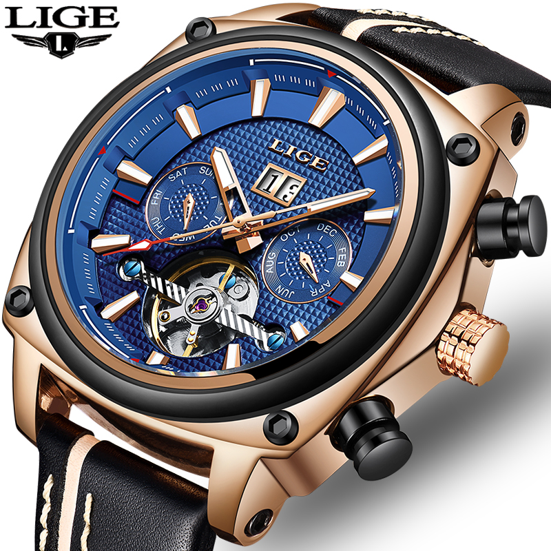 2018 LIGE NEW Tourbillon Automatic Mechanical Watch Men Military Sport Watch Rose Gold Leather Quartz Men Watch Reloj Hombre in Mechanical Watches from Watches