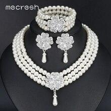 Mecresh, круглый имитация жемчуга, Дубай, наборы свадебных ювелирных изделий, массивный свадебный браслет, серьги, ожерелье, наборы, вечерние аксессуары, TL371