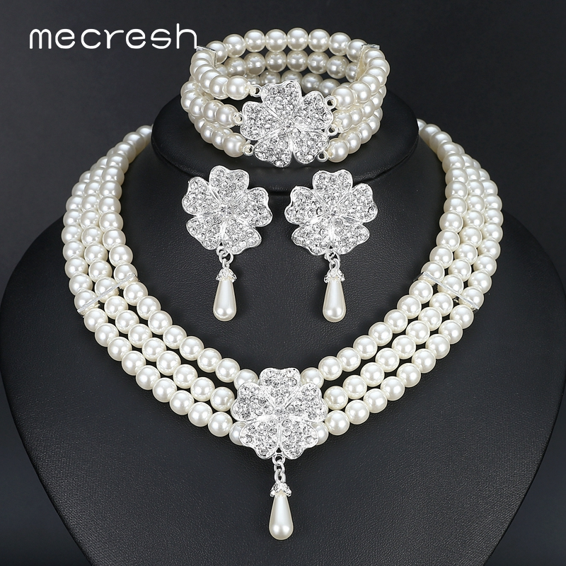 Mecresh 3pcs set Perfect Round Imitated Pearl Wedding Accessories Statement Bracelet Earrings Necklace Bridal Jewelry Sets