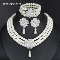 3pcs Set Perfect Round Imitated Pearl Retro Wedding Accessories Statement Bracelets Earrings Necklace Bridal Jewelry Sets