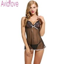 Avidlove Brand Sexy Babydolls Nightdress Women Sexy Dress Erotic Lingerie Sleepwear Strap V-Neck Lace Nightwear Set With Thong