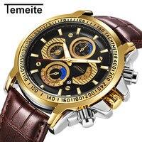 luxury mens watches TEMEITE brand men wristwatch quartz genuine leather waterproof man watches calendar brown black