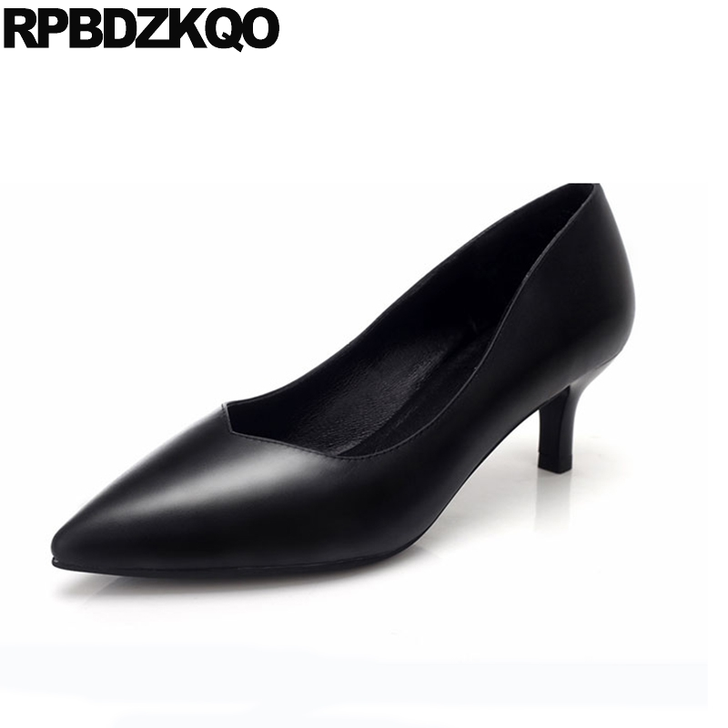 2017 3 Inch Court Pointed Toe Thin Black Office Ladies Formal Shoes Women Medium Pumps Work Size 4 34 High Heels China Chinese women high heels pumps office nude shoes 3 inch formal elegant ladies size 4 34 slip on 2017 work court female chinese autumn