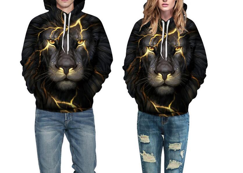 S-XXXL New Autumn Halloween lightning Lion 3D Printed Hoodies Men/Women Sweatshirt With Cap Pullover Streetwear Thin Hooded Tops