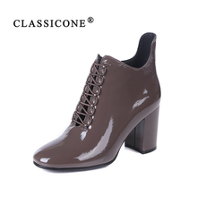 CLASSICONE 2019 Woman shoes women's ankle boots spring autumn genuine leather pumps brand fashion luxury sexy style high heels