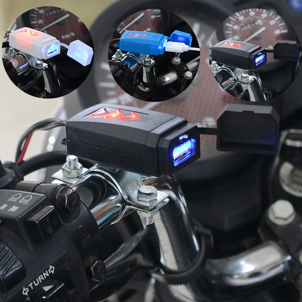 5V Waterproof USB Motorcycle Cell Phone Charging USB Charger With Switch cellphone tablet car charger Motorcycle Accessories-in Cables, Adapters & Sockets from Automobiles & Motorcycles