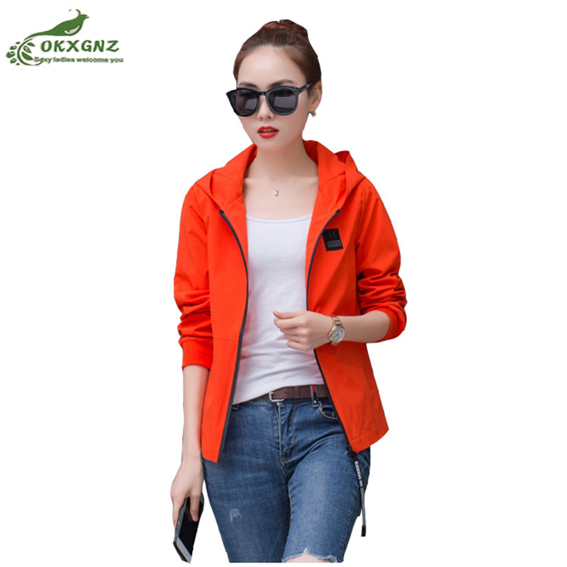 Windbreaker jacket female 2018 autumn new plus size women fat mm spring short hooded casual coat Womens clothing OKXGNZ AF777