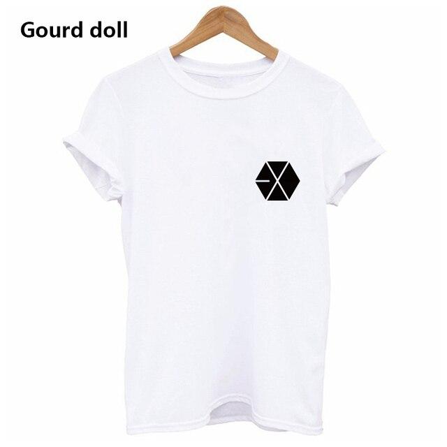 c7fc5a51fb5 Harajuku EXO Letter Summer T shirt Women Casual Lady BTS Short Tshirt for Female  Clothing t-shirts women Tops tumblr black white