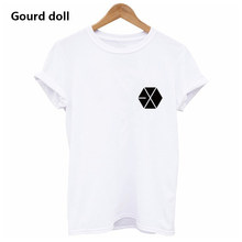 Harajuku EXO Letter Summer T shirt Women Casual Lady Short Tshirt for Female Clothing t-shirts women Tops tumblr black/white(China)