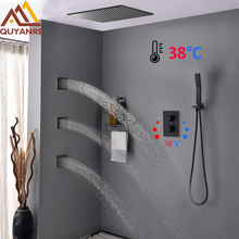 Quyanre שחור תרמוסטטי מקלחת ברזי ערכת פליז גשם מקלחת 3 יחידות עיסוי מטוסי ספא 3 דרך תרמוסטטי ברז אמבטיה מקלחת ברז