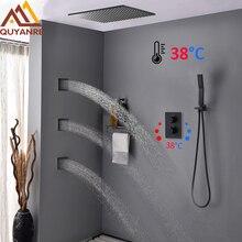 Quyanre Black Thermostatic Shower Faucets Kit Brass Rain Shower 3pcs Massage SPA Jets 3 way Thermostatic Tap Bath Shower Faucet