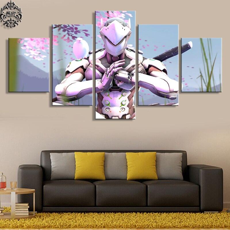 벽 예술 게임 포스터 5 패널 Overwatch Genji 홈 장식 사진 작품 캔버스 인쇄 장식 캔버스 Cuadros