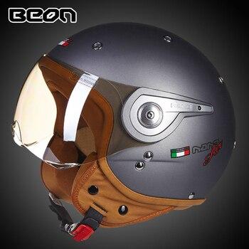 BEON Retro Motorcycle Helmet 3/4 Open Face Helmet Chopper Vintage Helmet Casco Moto Capacete Motocross Casque 110A