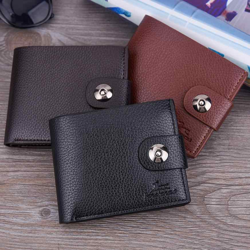 Maison Fabre Men wallet 2018 Simple solid color men's short buckle tumbler multi-card wallet May23      40