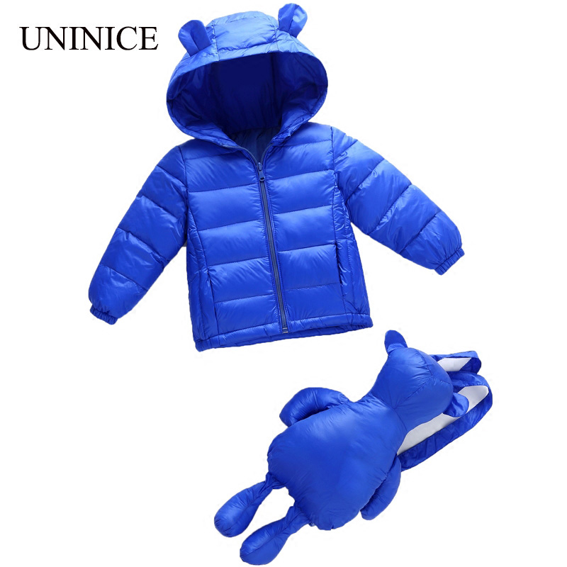 UNINICE Girls Boys Down Jacket With Bag 2017 New Kids Down Coat Winter Supper Light Warm Children Clothes WindProof Outerwear 2016 new winter boys girls clothes coat children down