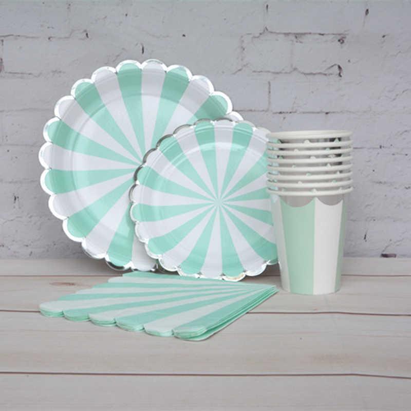 8 conjuntos de prata de hortelã descartável festa talheres pratos de papel copos de chá guardanapos palhas bebidas chá chá nupcial festa de noivado decoração