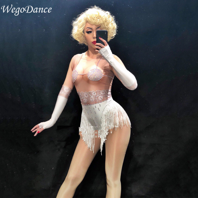 new Women Sexy Fringe Leotard Nude Spandex leotard Rhinestones Costume Stage Performance Dance Wear Singer Pole dancing Bodysuit