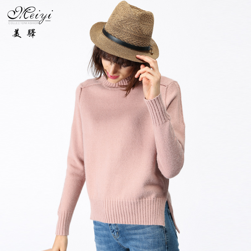2017 New Winter Sweater Couture Loose Sleeve Head Half Turtlenecks Before Short Haired Female Clothing