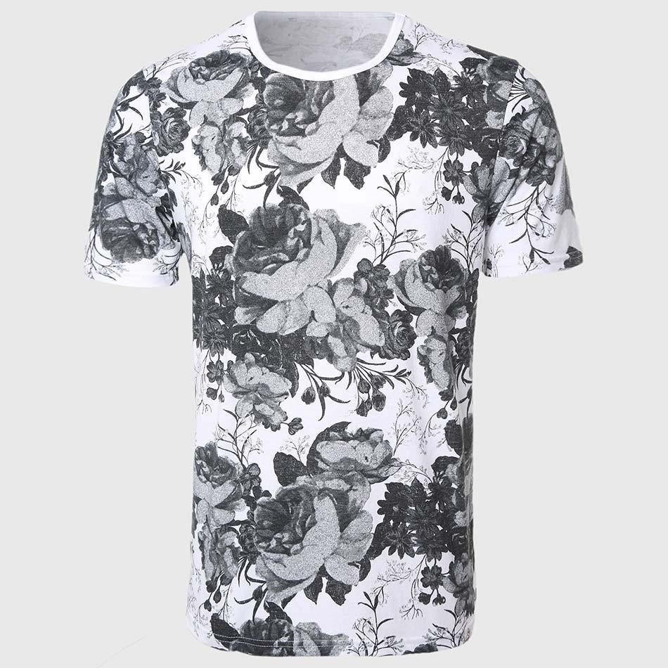 Designer rose floral t shirts men short sleeve flower tee for Mens white floral shirt