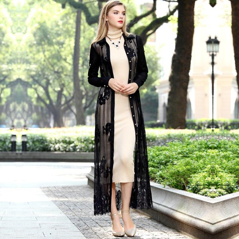 80a2188f71ef0a Black lace maxi coat slim cardigan sexy lace outwear long Jacket floor  length