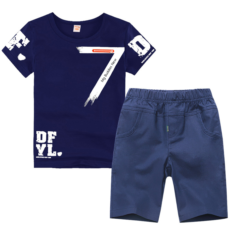 2019 Summer Boys Clothes Sport Suit Set Fashion Casual Short Sleeve O-neck Children's Clothing Set 2 Pieces T-Shirt + Pants(China)