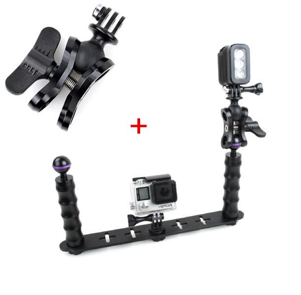 Prix pour De poche Selfie Manfrotto Plongée Sous-Marin Montage + TMC LED Éclairage D'appoint pour GoPro 3/3 +/4/5 Xiaomi yi SJ4000 SJ5000 SJ6000 caméra