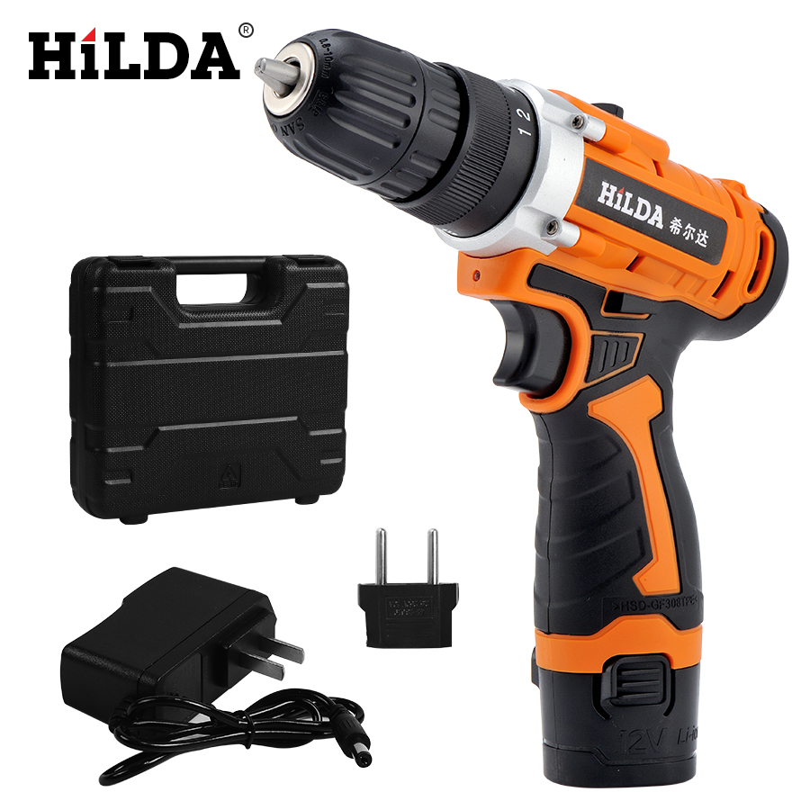 HILDA 12V Electric Drill Rechargeable Lithium Battery Electric Screwdriver Cordless Screwdriver Two speed Power Tools