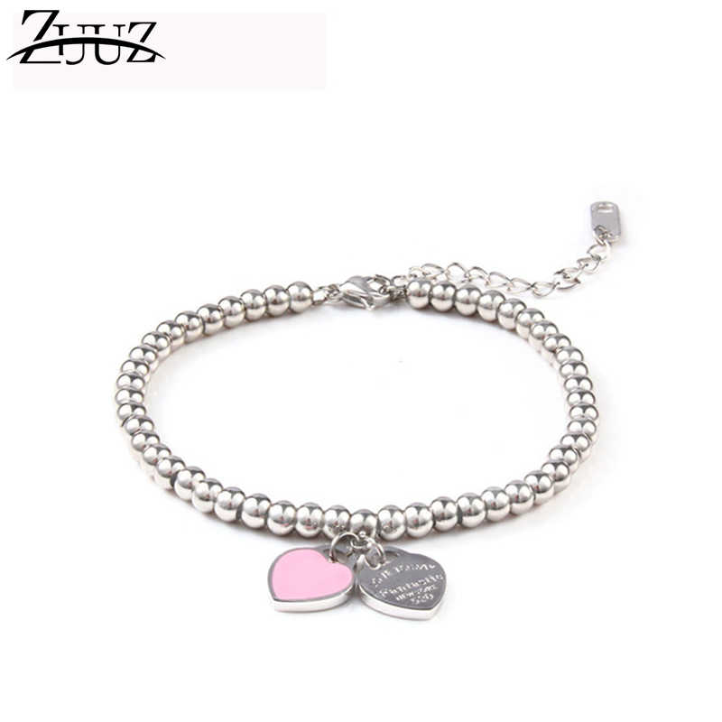 ZUUZ jewelry accessories charm stainless steel bracelets bangles  for women chain link female beads friendship braclet strand