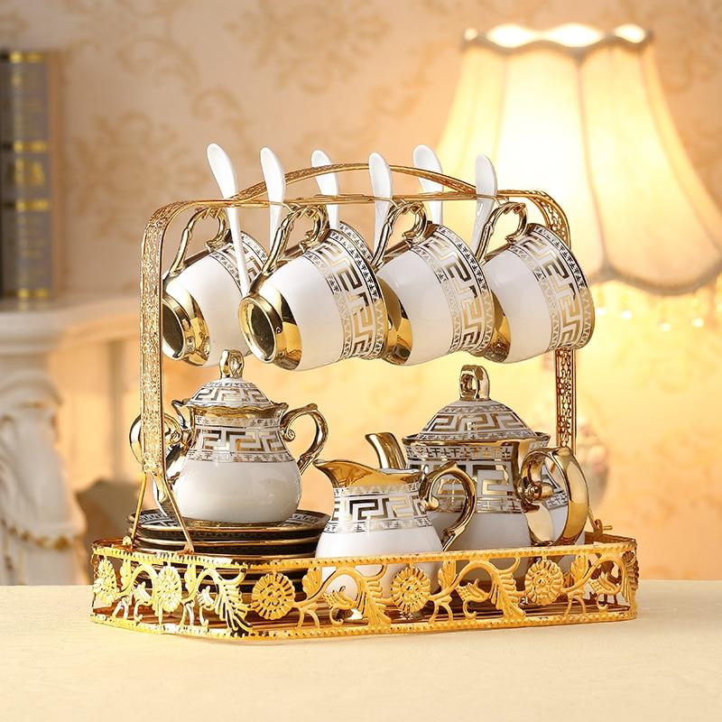 Europe Coffee Cups Set Golden Decal Parrten British  Porcelain Tea Set Ceramic Pot Teapot Set Coffee Cup Afternoon Tea Party