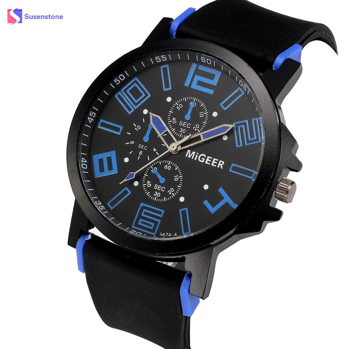 Для мужчин Лидер продаж силиконовый ремешок Спортивные Водонепроницаемый кварцевые часы наручные аналоговые часы Кварцевые наручные часы...