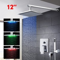 12 LED Oil Rubbed Bronze Shower Faucet Hand Shower Tub Spout Sets Wall Mount Mixer Shower
