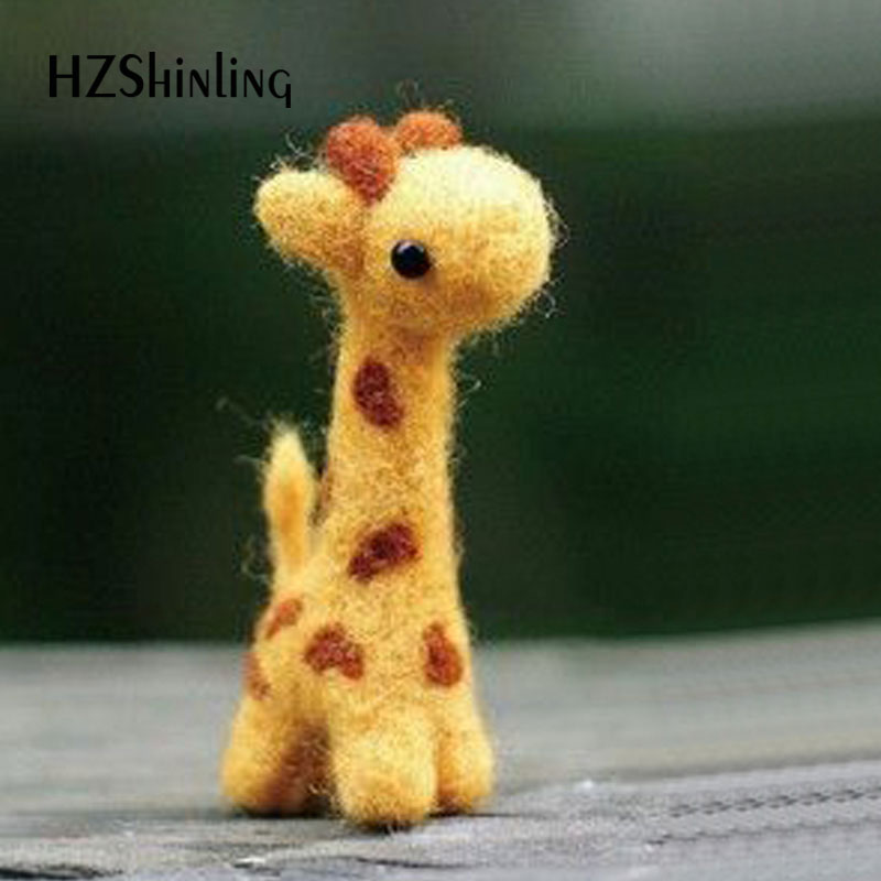 Non-Finished Handmade Giraffe Toy Doll Wool Felt Poked Kitting DIY Cute Animal Wool Felting For Children Kids Girls