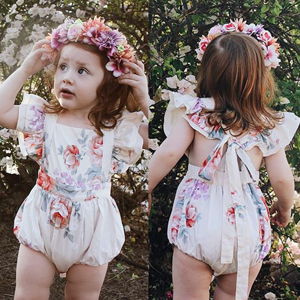Infant Newborn Baby Girl Ruffles   Rompers   Cute Flower Baby Girls Clothing Summer Jumpsuit Playsuit Baby Girl Costumes